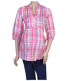 Uzazi Maternity 3/4th Sleeves Shirt Style Top - Extra Large