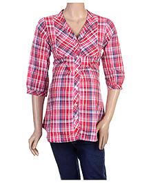 Uzazi 3/4th Sleeves Maternity Shirt Top - Check Print