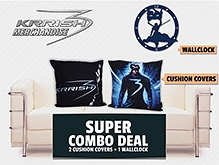 Stylish Cushion Cover And Mask Wall Clock Krrish Theme Based Cushion Covers And Wall Clock Combo
