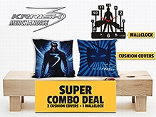 Mogul Wall Clock and Mask Cushion Cover Krrish theme based cushion covers and wall clock combo