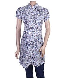 Uzazi Maternity Short Sleeves Long Tunic Top - Multi Print