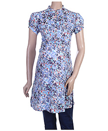 Uzazi Maternity Short Sleeves Long Tunic Top - Multi Print