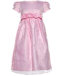 Puff Sleeves Party Frock Flowers Design - Pink