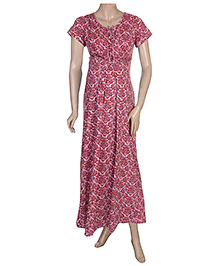 Uzazi Half Sleeves Maternity Night Wear Leaf Print - M