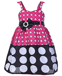 N-XT Sleeveless Pleated Frock With Waist Belt - Polka Dot Print