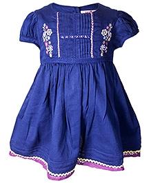 Nauti Nati Short Sleeves Panel Pattern Dress With Embroidery - 0 - 6 Months
