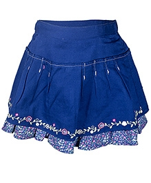 Nauti Nati Blue Skirt With Machine Embroidery