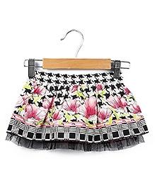 Beebay Houndstooth Floral Print Skirt