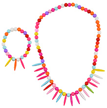 Angel Glitter Multicolor Rainbow Rainfall Wooden Jewellery Set - Set Of 2 - 2 Years+