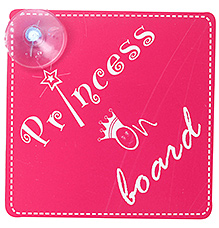 Vacky Princess On Board Sign With Attached Suction Cup 15.3 X 15.3 X 2cm, Attaches Easily To Your Car And Reminds Others To...