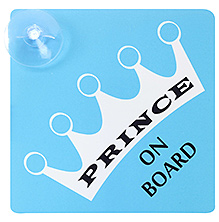 Vacky Prince On Board Sign With Attached Suction Cup - 15.3 X 15.3 X 2cm