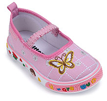 Kittens Canvas Belly Style Shoes Butterfly Design - Light Pink