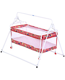New Natraj Sleepwell Baby Crib Red - Teddy Print