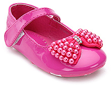 Kittens Pink Party Ballerina Shoes - Pearls Bow