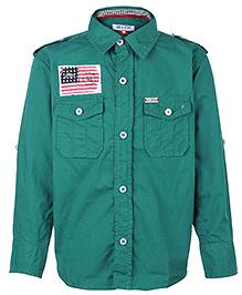 Gini & Jony Full Sleeves Shirt With Flag Badge - Green