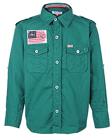 Gini & Jony Full Sleeves Shirt With Flag Badge - Green