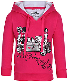 Gini & Jony Full Sleeves Hooded Sweatshirt - Fuschia