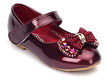Doink Maroon Party Ballerina Shoes - Embedded Beads Bow - Size 25