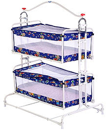 Infanto Compact Cradle Twins Teddy Print Blue