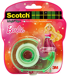 Scotch Barbie Magic Tape With Green Refillable Dispenser 19 mm x 7.6 m, Pulls off the roll smoothly and quickly