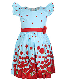 Isabelle Frock With Red Apples Print - Flutter Sleeves