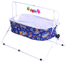 New Natraj Baby Cradle With Attached Play Toys - Blue
