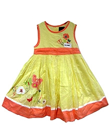 Herberto Sleeveless Yellow Frock With Embroidery 0 - 3 Months, Cotton Frock With Adorable Floral And Butterfly Work At...