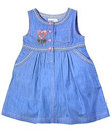 ShopperTree Blue Sleeveless Stitching Design Frock - Placket Opening