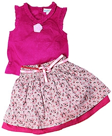 ShopperTree Pink Sleeveless Top And Floral Print Skirt - Flower Applique