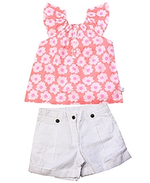 ShopperTree Cap Sleeves Top And Plain Shorts Set
