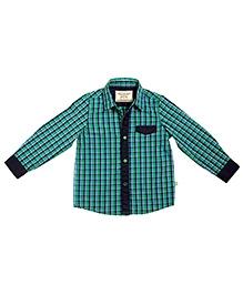 BonOrganik Green Full Sleeves Cotton Shirt - Check Print