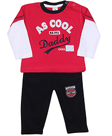 Shirt With Legging Set  -  Red And Black 1 - 3 Months, Adorable cotton t shirt and legging set for boys