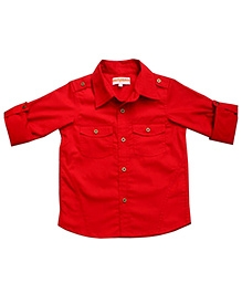 Campana Full Sleeves Metallic Button Plain Shirt - Red