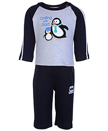 Shirt With Legging Set  -  Chilling With Dad 0 - 3 Months, Lovely penguin design machine embroidery cotton t shirt...