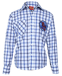 Spider Man Small Check Printed Full Sleeves Shirt - Blue