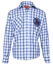 Spider Man Full Sleeves Small Check Printed Shirt - Blue