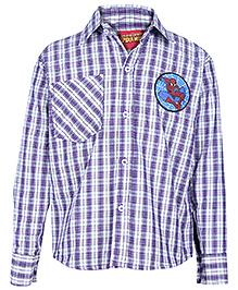 Spider Man Full Sleeves Small Check Printed Shirt - Purple