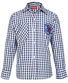 Spider Man Full Sleeves Small Check Printed Shirt - Grey