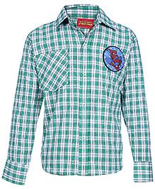 Spider Man Full Sleeves Check Printed Shirt - Green