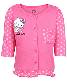 Hello Kitty Full Sleeves Pink T Shirt - Polka Dots And Kitty Print