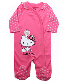 Hello Kitty Full Sleeves Pink Footed Sleep Suit - Kitty Print