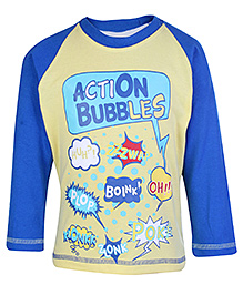 Taeko Raglon Sleeves T Shirt - Action Bubbles Print
