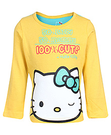 Hello Kitty Full Sleeves Yellow T Shirt - Kitty Print
