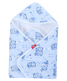 Sapphire Quilted Baby Wrapper - Teddy Print