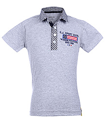 Gini & Jony Grey Half Sleeves Polo T Shirt - Checked Collar