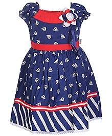 Babyhug Puff Sleeves Umbrella Pattern Frock - Flower Applique