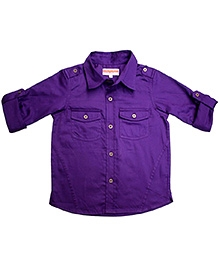 Campana Purple Full Sleeves Plain Shirt - Metallic Buttons