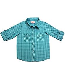 Campana Sea Green Full Sleeves Shirt - Gingham Check Print