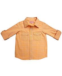 Campana Full Sleeves Dual Pocket Shirt Gingham Check Print - Yellow