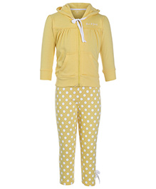 Gini & Jony Full Sleeves Hooded Jacket With Polka Dot Legging